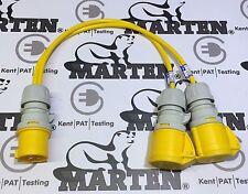 Marten® PCE 110v 16A Plug to 2 x 16A Coupler Sockets 2 Way Power Splitter