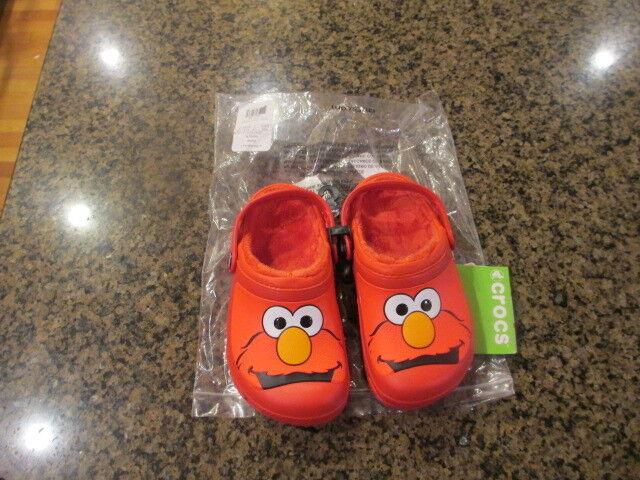 New Kids Sesame Street Crocs Elmo Flame Lined Clog Winter Shoe 10//11 12//13 J1 J2