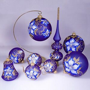 Details About Russian Christmas Tree Ornaments 9 Piece Gzhel Handmade New