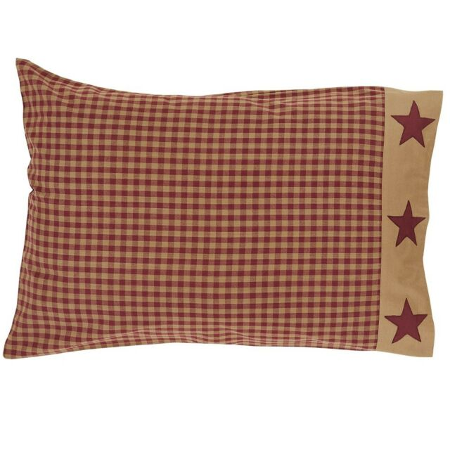 Ninepatch Star Burgundy Check Pillow Case Set/2 Country Red Primitive Applique