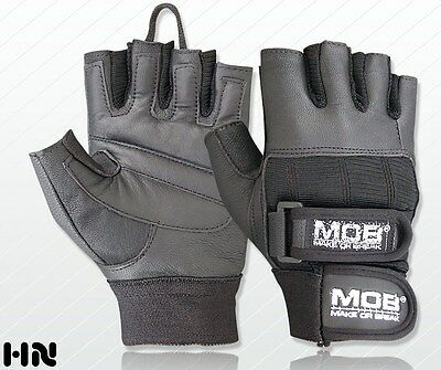PADDED LEATHER WEIGHT LIFTING GLOVES FITNESS TRAINING CYCLING GYM - DOUBLE STRAP