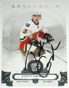 JOHNNY-GAUDREAU-SIGNED-17-18-UPPER-DECK-ARTIFACTS-CALGARY-FLAMES-CARD-AUTOGRAPH
