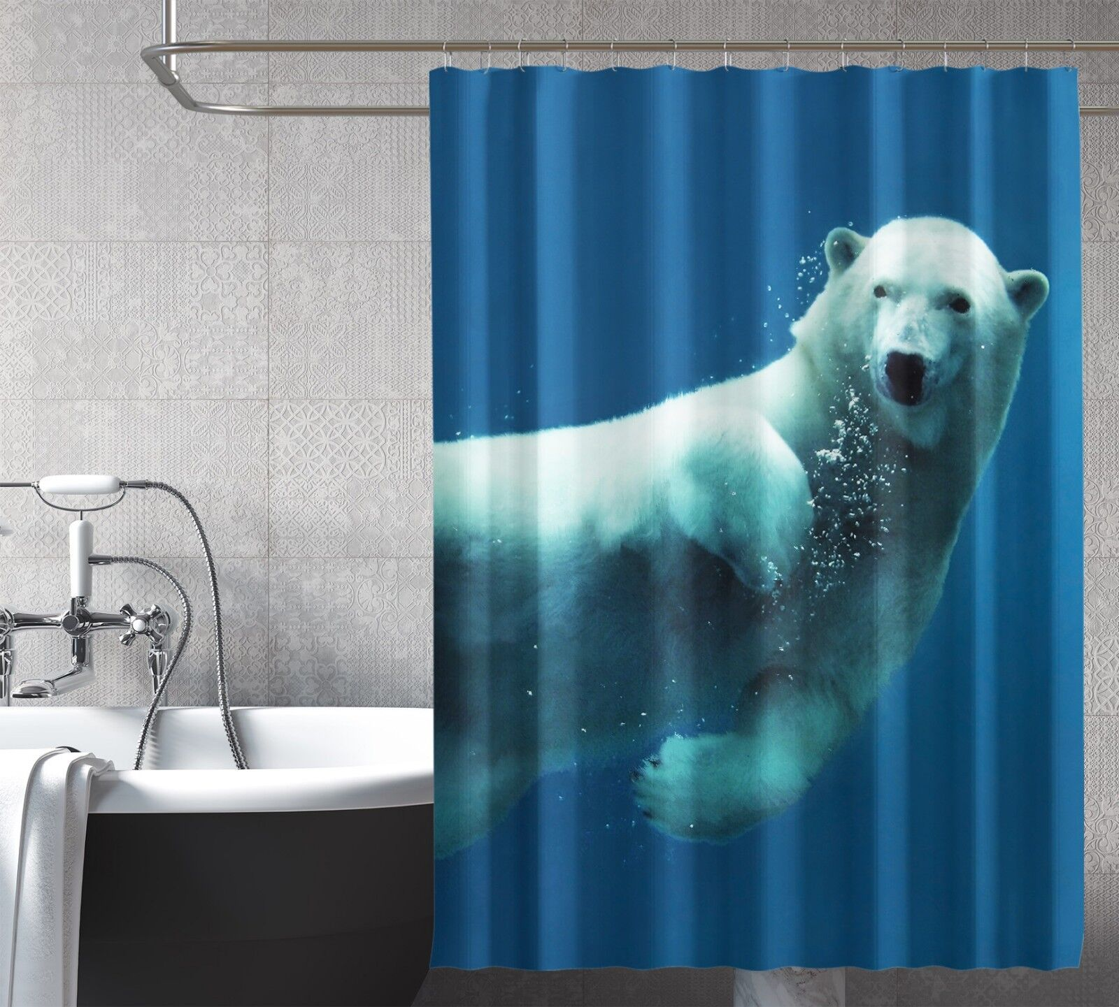3D Weiß Bear Sea Sea Sea 77 Shower Curtain Waterproof Fiber Bathroom Windows Toilet c4ffea