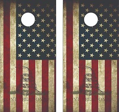 Laminated Gadsden Dont Tread on Me Fade USA Flag Cornhole  Skin Wrap Decal SET