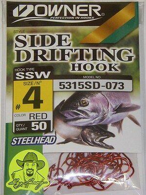 Red 50 Hooks Bulk Pro Pack Owner 5315SD-073 SSW Side Drifting 5315 SD Hook #4
