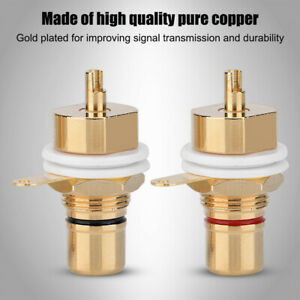 2PCS RCA Female Chassis Panel Mount  Socket Connector Gold Plated Adapter