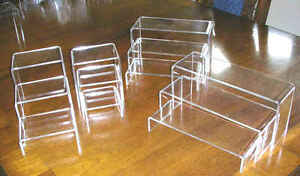 PLEXIGLASS-039-U-039-NESTED-DISPLAY-RISERS-SET-OF-3-FIESTA-GO-ALONG