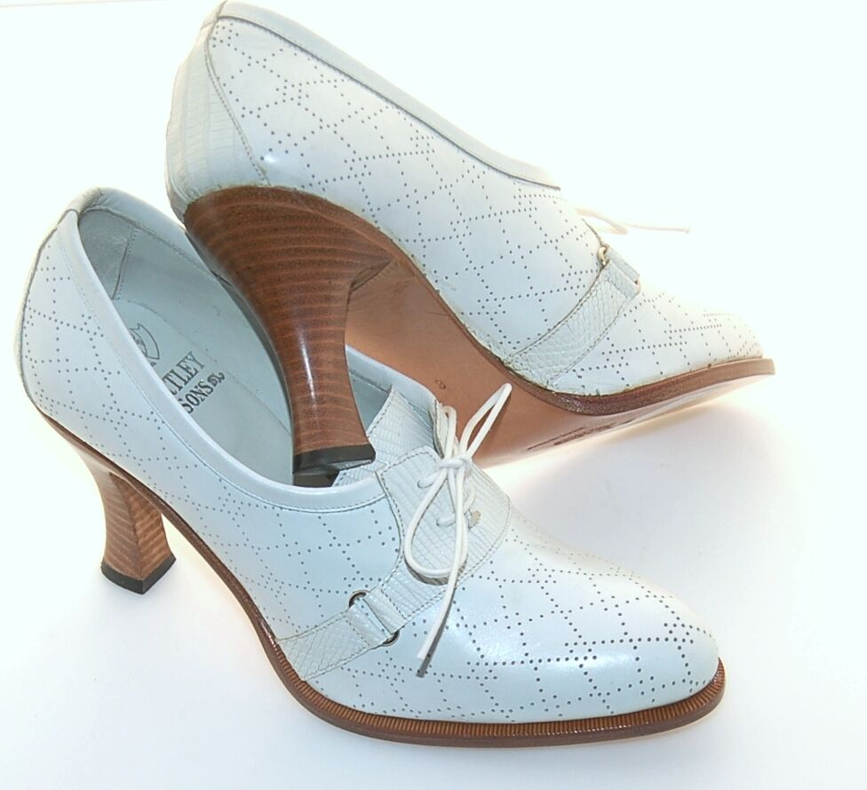 Damenschuhe - Damens - 38 - OXFORD - PERFORATED Weiß CALF CALF Weiß - LEATHER SOLE - 8.5cm HEEL 23b8bf