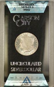 1879-CC GSA Hoard Morgan Silver Dollar $1 Coin ANACS MS-62 with Box & COA #340