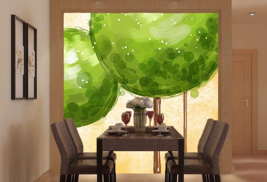 3D Cartoon Grüne Baum 7 Tapete Wandgemälde Tapete Tapeten Bild Familie DE Summer  | Am praktischsten  | Spielzeugwelt, glücklich und grenzenlos  | Mama kaufte ein bequemes, Baby ist glücklich