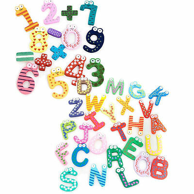 Funky Fun Colourful Wooden Fridge Magnet Magnetic Toys Numbers Alphabet Letters