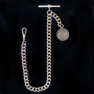 Heavy-Weight-Lucky-Sixpence-Solid-Hallmarked-925-Silver-Albert-Chain
