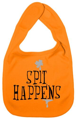 "Funny Baby Bib /""Spit Happens/"" Feeding Time Dribble BIB Boy Girl Gift"