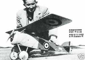 "Model Airplane Plans (FF): Sopwith Swallow 1/8 scale 41"" for 1--1.5cc (.09ci)"
