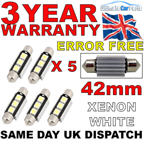 5 X 42mm 3 SMD LED 239 272 C5W CANBUS NO ERROR INTERIOR LIGHT FESTOON BULB WHITE