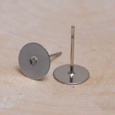 10 Edelstahl Ohrstecker mit Ohrmutter Fassung für 8mm Ohrsteckerrohlinge M393
