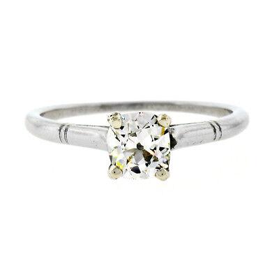 Antique Art Deco Platinum 0.70ct GIA Old Mine Diamond Solitaire Engagement Ring