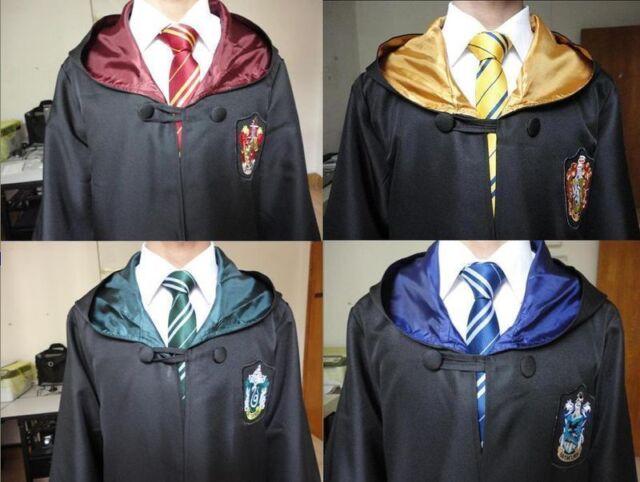 Harry Potter Hogwarts Gryffindor/Slytherin/Hufflepuff/Ravenclaw Robe&Tie Costume