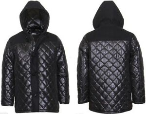 Details About Men S Hooded Diamond Quilted Duffle Coat Jacket