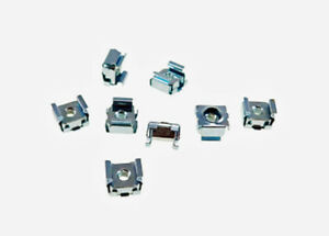 25 Self-Retaining Cage Nuts 8-32 Zinc Plated Steel Square Cage Nuts