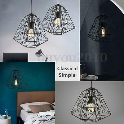 Industrial Vintage Metal Drop Cage Chandelier Pendant Ceiling Light Lamp Fixture