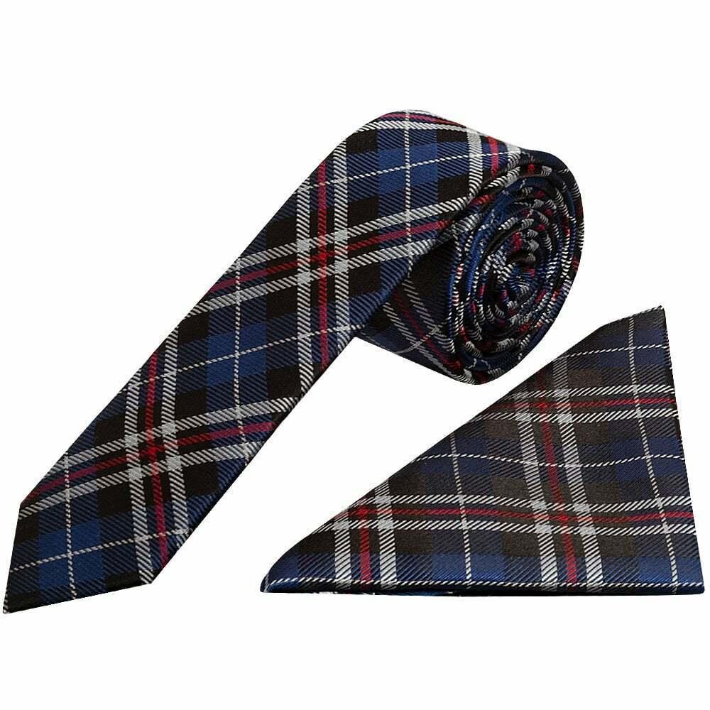Blue and White Tartan Silk Skinny Men's Tie and Pocket Square Set Wedding Tie