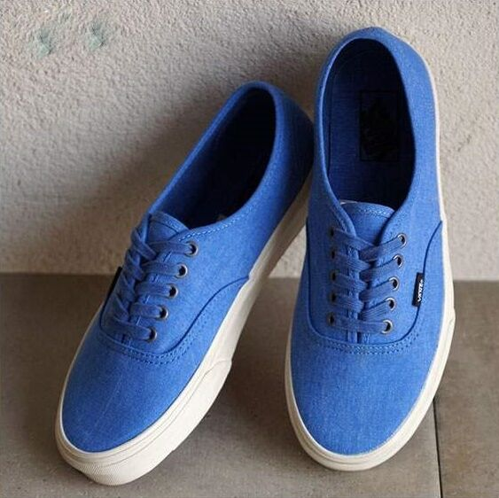 Vans Authentic Overwashed Nautical BlueTrue White Men's Skate Shoes Size 10