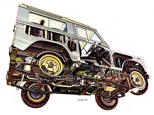 A3 Land Rover Series III 1978 Cutaway Drawing Wall Poster Art Picture Print