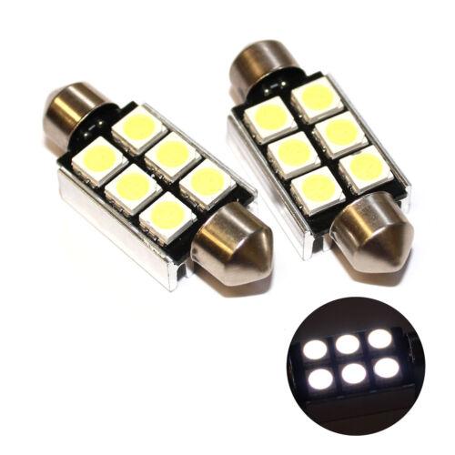 Fits Seat Arosa 6H 1.0 White 6-SMD LED 39mm Festoon 12v Number Plate Light Bulbs