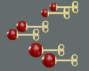 ECHT-GOLD-Ohrstecker-Koralle-rot-rund-waehlbar-in-4-5-6-mm