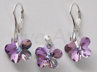 SET Flower 12mm 925 STERLING SILVER GENUINE SWAROVSKI CRYSTAL earrings + pendant