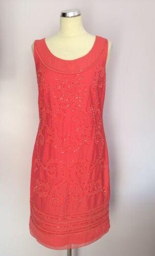 en Taille Nouveau corail coton Una 12 Speziale rose Robe perlé Per 5zzKAq