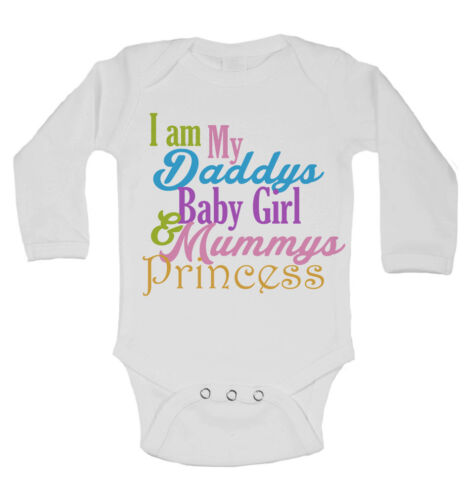 I am my Daddys Baby Girl and Mummys Princess Long Sleeve Baby Vests for Girls