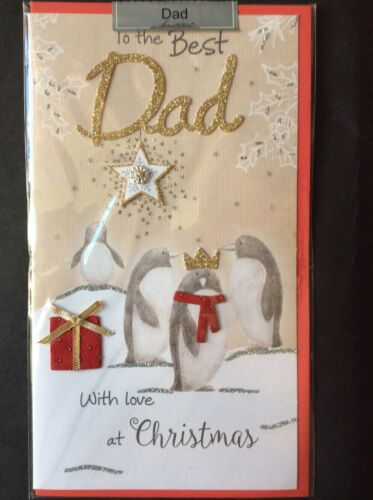 LUX1 Best Dad Christmas Card Luxurious rrp £4.10