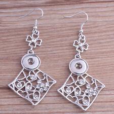 beautiful fashion rhinestone earrings fit 12mm nosa chunk snap button j4987