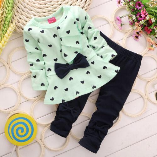 Toddler Kids Baby Girls Outfits Long Sleeve Tops Pants Headband 2PCS Clothes Set