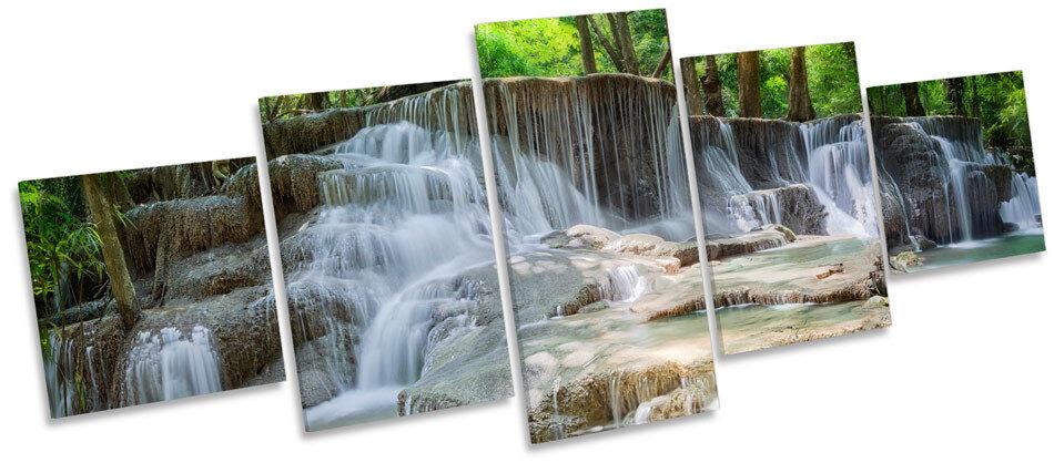 Belle cascade paysage MULTI TOILE murale ART BOX Cadre Imprimé