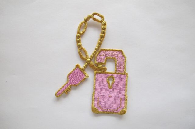 Gold Key Embroidery Iron On Applique Patch