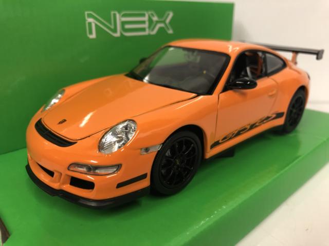 Porsche 911 Gt3 RS 997 Orange With Black Stripe 1 24/1 27 Scale Welly