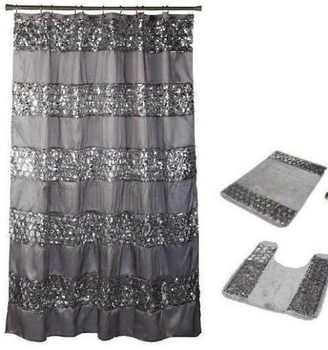 Popular Bath 4 Piece Sinatra Silver Shower Curtain Waste Basket and 2 Rug Set