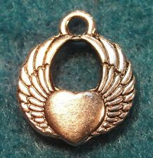 50Pcs. WHOLESALE Tibetan Silver WINGS w/ HEART Pendants Charms Ear Drops Q0227