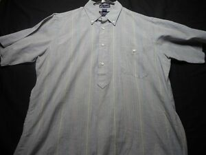 Puchetts-Medium-Cotton-Vintage-Medium-Gray-Stripe-Short-Sleeve-Men-039-s-Shirt