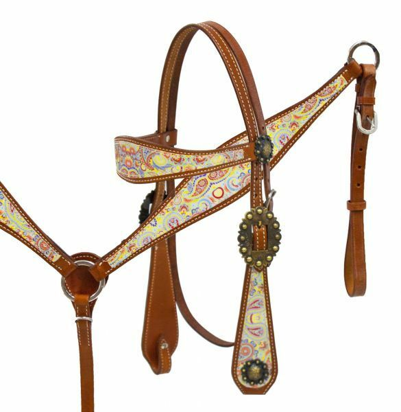 SHILOH PAISLEY PRINT HEADSTALL AND BREAST COLLAR SET 13004