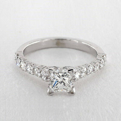 Punctual 1.50 Ct Princess Cut Moissanite Ring 14k Solid White Gold Size N I M J P Q R O H Professional Design Other Fine Rings
