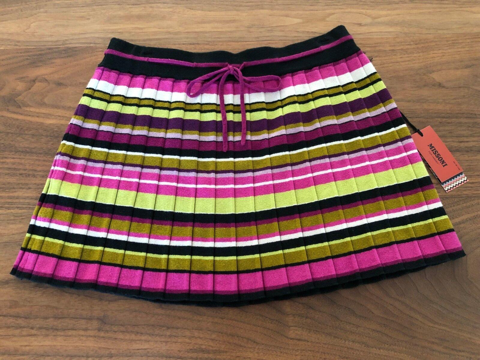 Brand New NWT Missoni Target Pink Striped Pleated Sweater Skirt Medium M 275189