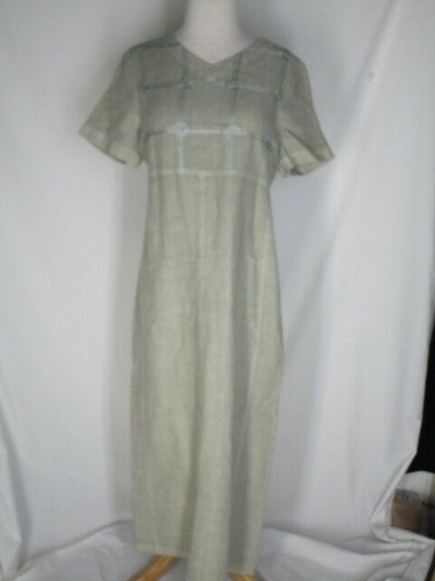 Johnny Was Collection Beige Linen Longer Dress Dress Dress S Embroidery on Bodice 1d18b8