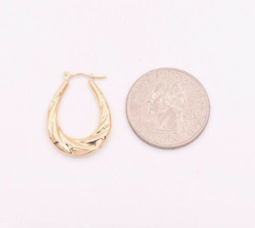 """1/"""" Graduated Wavy Textured Polished Oval Hoop Earrings Real 14K Yellow Gold"""