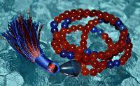 8 Mm Red Jade And Lapis Lazuli Prayer Beads - To Enhance Awareness, Insight
