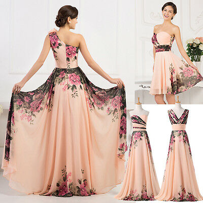 XMAS Mother of the Bride Flower Chiffon Ball Cocktail Evening Prom Party Dress