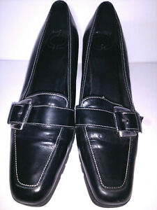 Shoes-CASUAL-CORNER-Slip-ons-Black-Leather-Womens-Size-8-5M-8-5-M-Medium